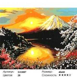 Закат над Фудзи Раскраска картина по номерам на холсте