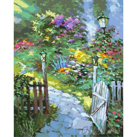 Дорожка в сад Раскраска картина по номерам акриловыми красками на холсте