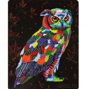 Бриллиантовая сова Алмазная вышивка мозаика с глиттером на картоне