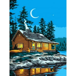 Домик у озера Раскраска картина по номерам акриловыми красками на холсте