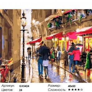 Романтика парижских улочек Раскраска картина по номерам акриловыми красками на холсте