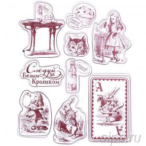 Следуй за Белым Кроликом Набор прозрачных штампов для скрапбукинга, кардмейкинга Арт Узор