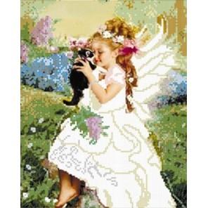 Ангелочек с котенком Алмазная мозаика вышивка на подрамнике Painting Diamond