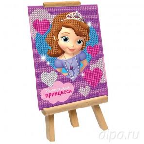 София Прекрасная Настоящая принцесса Алмазная вышивка (мозаика) частичная с подставкой