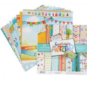 Счастливое детство Набор бумаги двусторонней 180 г/м для скрапбукинга, кардмейкинга Арт Узор