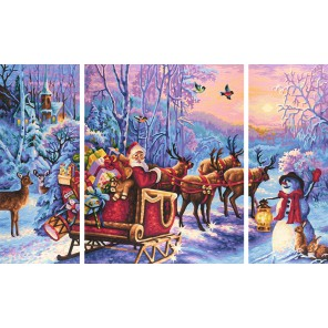 Дед Мороз Триптих Раскраска по номерам акриловыми красками Schipper (Германия)