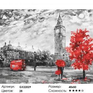 Количество цветов и сложность Серо-красный Лондон Раскраска картина по номерам акриловыми красками на холсте