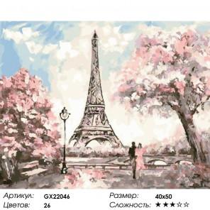 Эйфелевая башня для двоих Раскраска картина по номерам на холсте