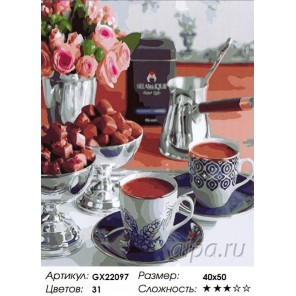 Кофе по-турецки Раскраска картина по номерам на холсте