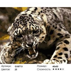 Оскал леопарда Раскраска картина по номерам акриловыми красками на холсте
