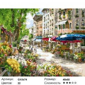 Парижский цветочный рынок Раскраска картина по номерам акриловыми красками на холсте
