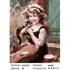 Милая девочка Раскраска картина по номерам акриловыми красками на холсте