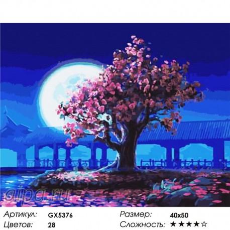 Количество цветов и сложность Цветение при луне Раскраска картина по номерам акриловыми красками на холсте
