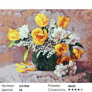 Букет с ландышами и тюльпанами Раскраска картина по номерам акриловыми красками на холсте