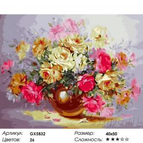 Нежность из роз Раскраска картина по номерам на холсте