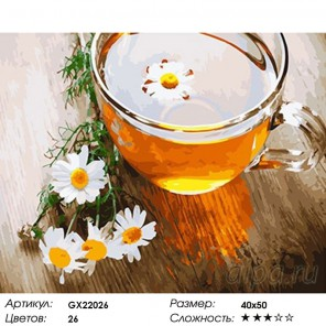 Чай с ромашкой Раскраска картина по номерам на холсте