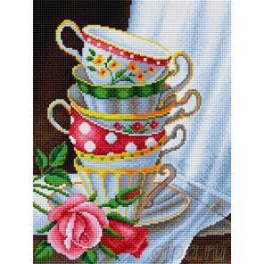 Чашки с розами Алмазная вышивка мозаика