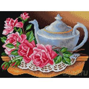 Чайник с розами Алмазная вышивка мозаика