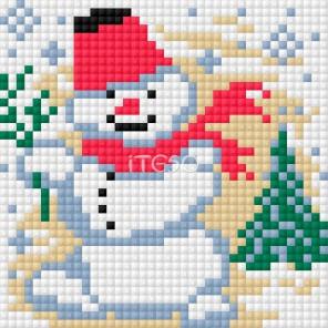 Снеговик Алмазная мозаика на магнитной основе Iteso