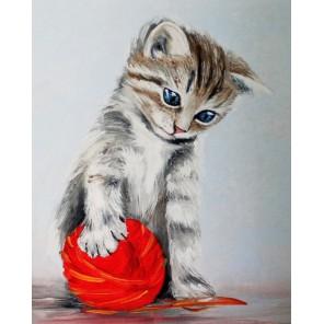 Котенок с красным клубком Алмазная мозаика на подрамнике