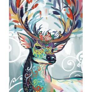 Разноцветная лань Алмазная мозаика на подрамнике