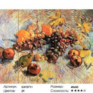 Натюрморт с яблоками и виноградом. Ван Гог Картина по номерам на дереве