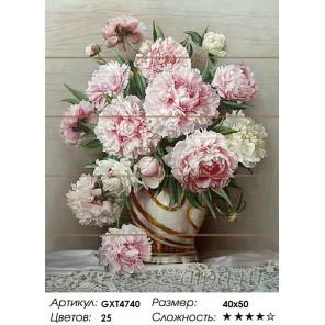 Количество цветов и сложность Розовые пионы Картина по номерам на дереве