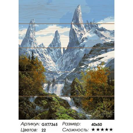 Количество цветов и сложность Снежные вершины Картина по номерам на дереве