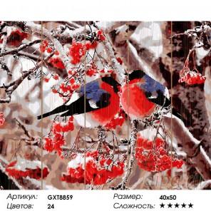 Снегири Картина по номерам на дереве