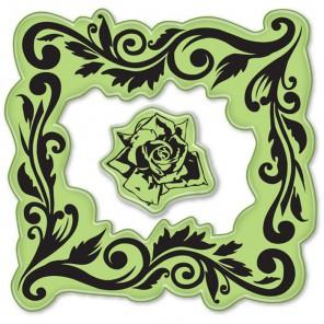 Рамочка в розах (2 шт)Набор резиновых штампов для скрапбукинга, кардмейкинга Inkadinkado