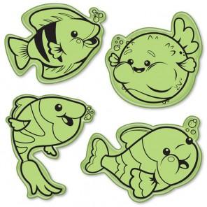 Милые рыбки (4 шт)Набор резиновых штампов для скрапбукинга, кардмейкинга Inkadinkado