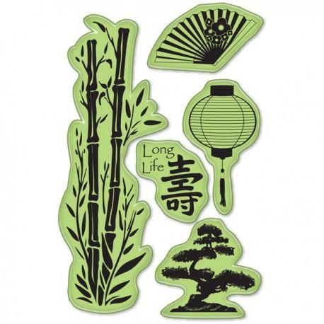 Азия (5 шт)Набор резиновых штампов для скрапбукинга, кардмейкинга Inkadinkado