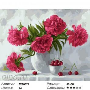 Количество цветов и сложность Пионы и вишня Раскраска картина по номерам акриловыми красками на холсте