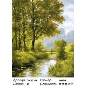 Количество цветов и сложность Мост через пруд Раскраска картина по номерам акриловыми красками на холсте