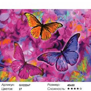 Радужные бабочки Раскраска картина по номерам на холсте