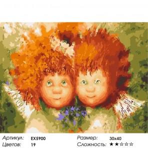 Солнечные ангелы с букетиком Раскраска картина по номерам на холсте