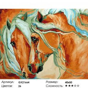 Соловые лошади Раскраска картина по номерам на холсте