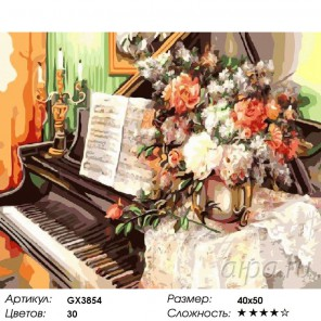 Количество цветов и сложность Букет на рояле Раскраска картина по номерам на холсте