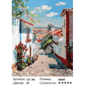 Улочка в португальском поселке Раскраска ( картина ) по номерам на холсте Белоснежка