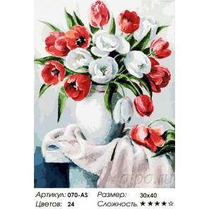 Красные и белые Раскраска ( картина ) по номерам на холсте Белоснежка