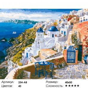 Санторини Раскраска картина по номерам на холсте Белоснежка