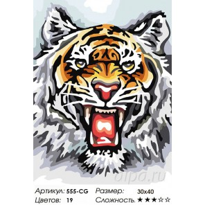 Тигр Раскраска ( картина ) по номерам на холсте Белоснежка