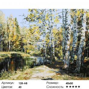 Количество цветов и сложность Березы у пруда Раскраска ( картина ) по номерам на холсте Белоснежка