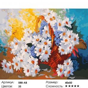 Корзинка с ромашками Раскраска ( картина ) по номерам на холсте Белоснежка