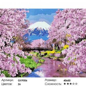 Вид на Фудзияму Раскраска картина по номерам на холсте