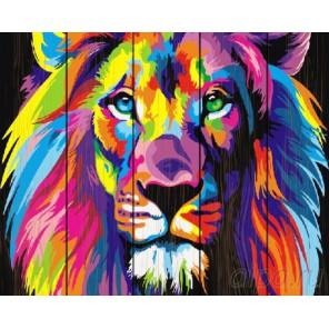 Радужный лев Картина по номерам на дереве
