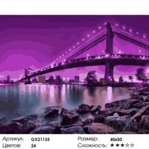 Количество цветов и сложность Пурпурная ночь Раскраска картина по номерам на холсте