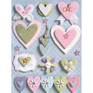 Свадебные сердца Стикеры для скрапбукинга, кардмейкинга K&Company