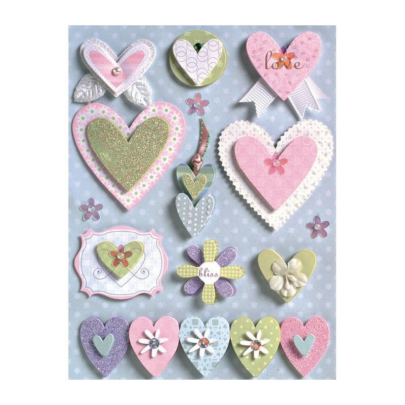 Свадебные сердца Стикеры для скрапбукинга, кардмейкинга K&Company по доступным ценам Купить в Москве и Санкт-Петербурге KCO-
