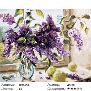 Душистые цветы сирени Раскраска картина по номерам на холсте